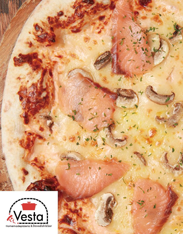ピンクサーモンと茸のチーズピザ【35】